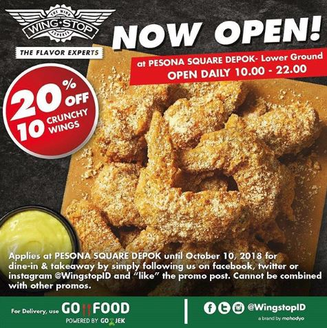 Discount 20 From Wing Stop At Pesona Square Gotomalls