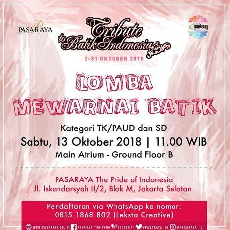 Coloring Batik Competition At Pasaraya Blok M Gotomalls