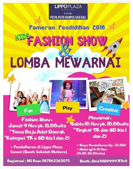 Kids Fashion Show Lomba Mewarnai Di Lippo Plaza Sunset Gotomalls