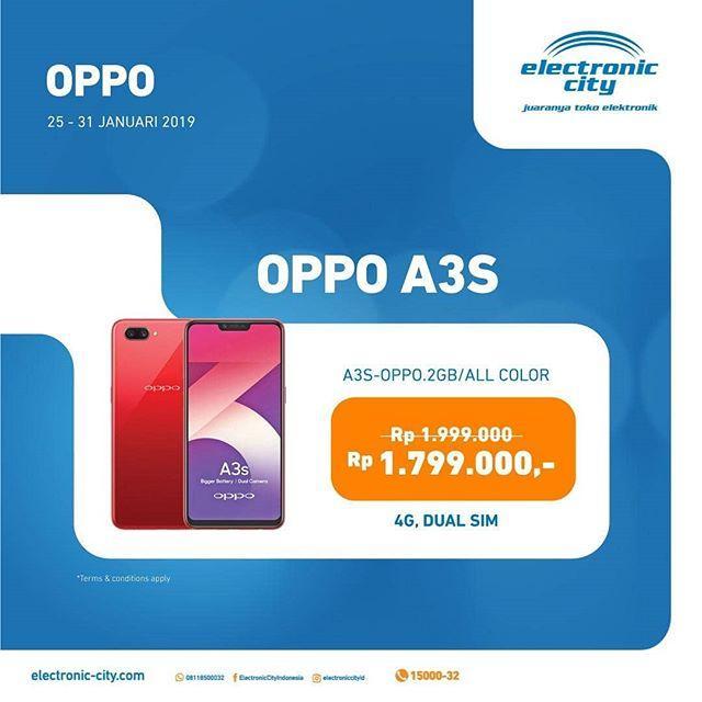 Super Promo Handphone OPPO A3S at Electronic City - Lippo