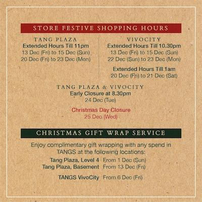 Store Festive Shopping Hours Christmas Gift Wrap Service At Tangs December 2019 Gotomalls