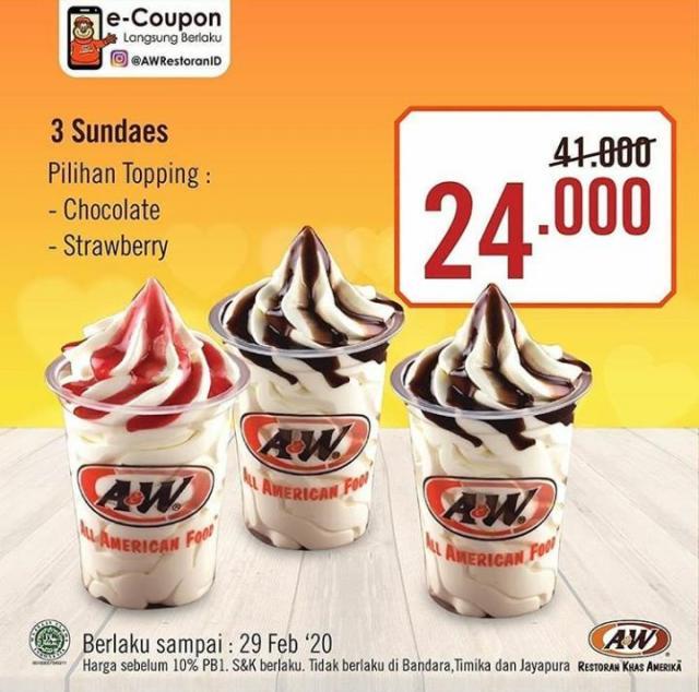 Promo Ice Cream Sundaes Di A W Februari 2020 Discovery Shopping Mall