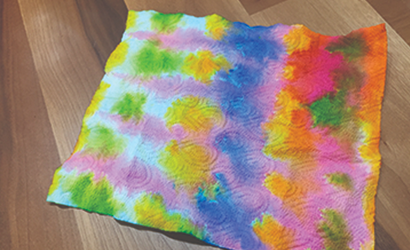 Fold dyed paper