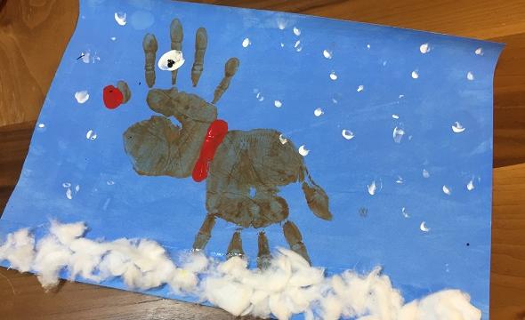 Reindeer hand printing