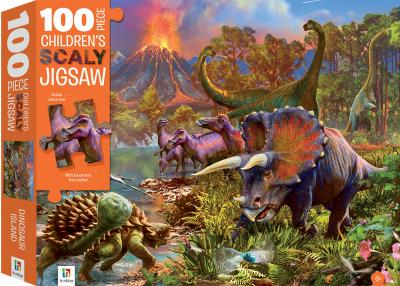 100-piece children's scaly jigsaw: dinosaur island