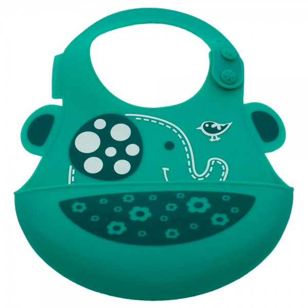 Baby silicone bib - green (ollie the elephant)