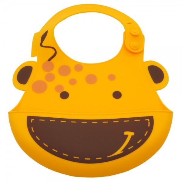 Baby silicone bib - yellow (lola the giraffe)