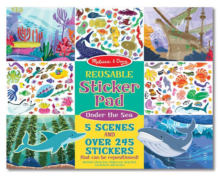 Reusable sticker pad under sea
