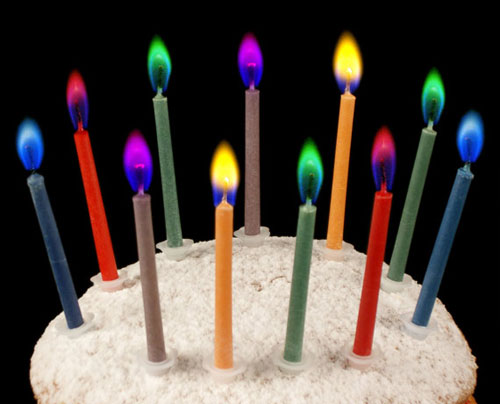 Colored Flame Rainbow Candles