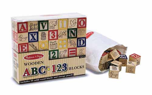 Wooden abc-123 blocks