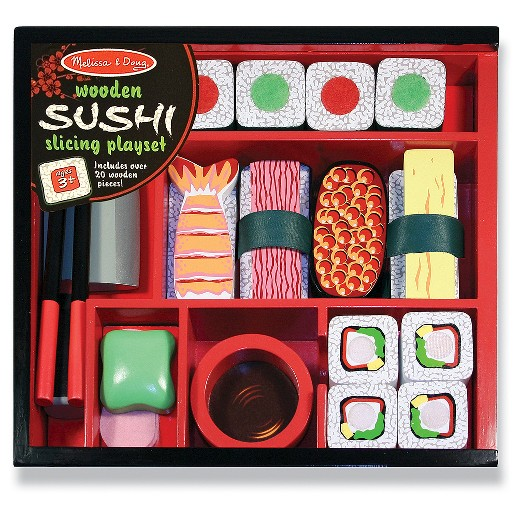 Wooden sushi slicing play set