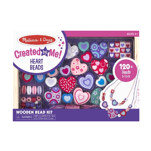 Wooden bead set - sweet heart