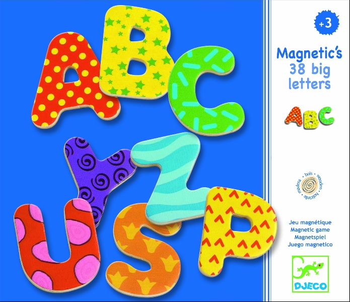 38 big letters wooden magnets