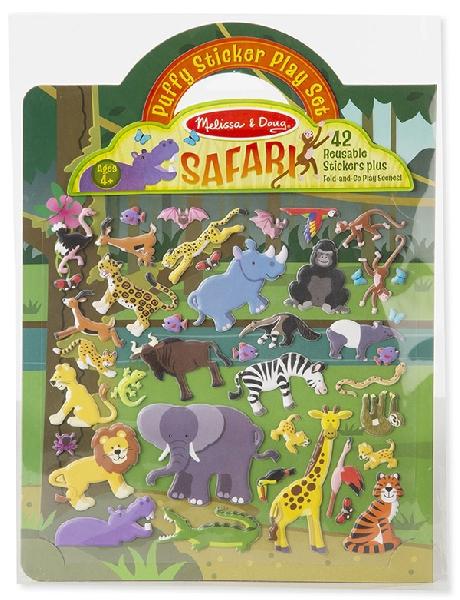 Puffy reusable sticker set safari