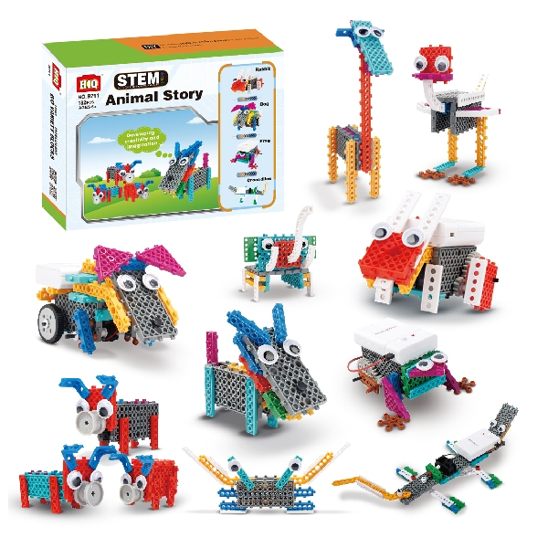 Stem 12in1 animal story construction kits with motor (182pcs)