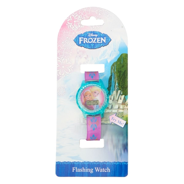 Disney frozen flashing lcd kids watch with accents in aqua and pink.