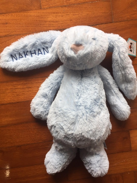 Bashful gray bunny 31 cm - personalized name