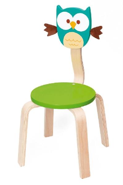 เก้าอี้ไม้คุณหนู ลายนกฮูก