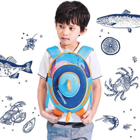 3d school bag submarine blue