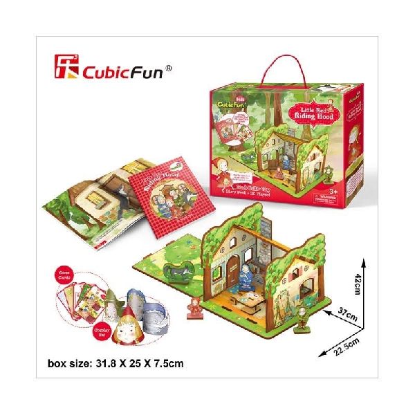 3d playset with storybook - a little red riding hood