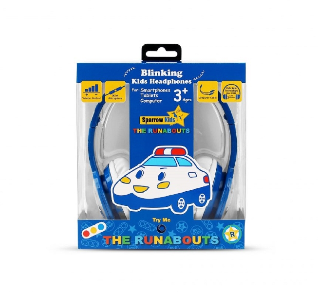 Kids blinking headphones with mic & vol control - the runabouts