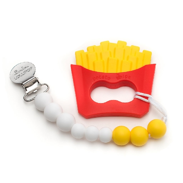 French fries silicone teether with holder