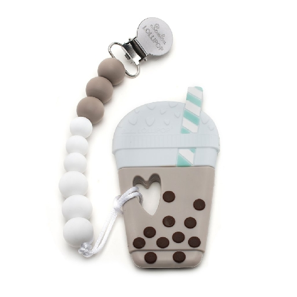 Milk tea bubble tea silicone teether holder set