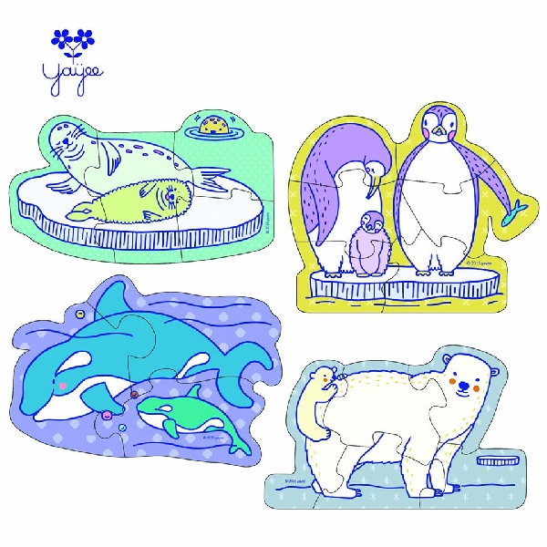 Little hands and big jigsaw puzzle - polar animals