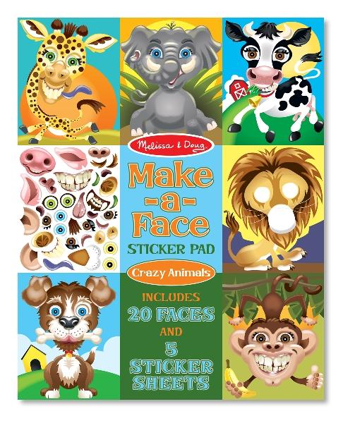 Make a face sticker pad - crazy animal