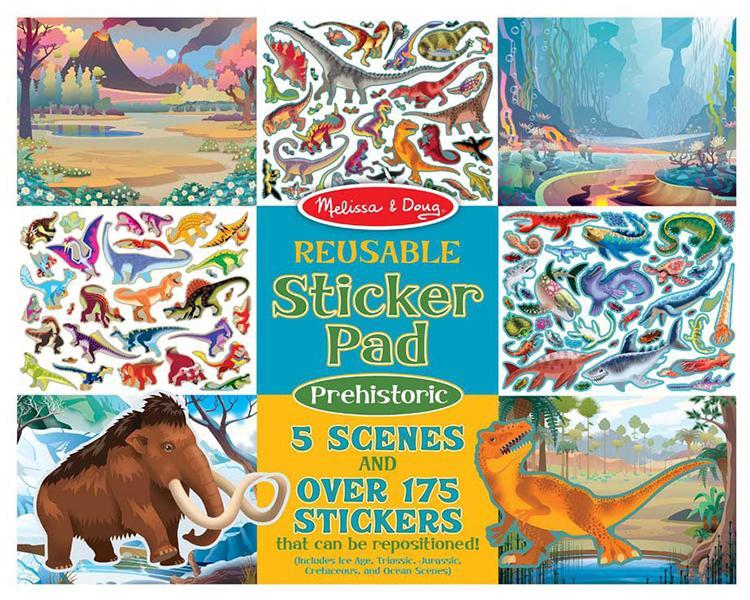 Prehistoric reusable sticker pad