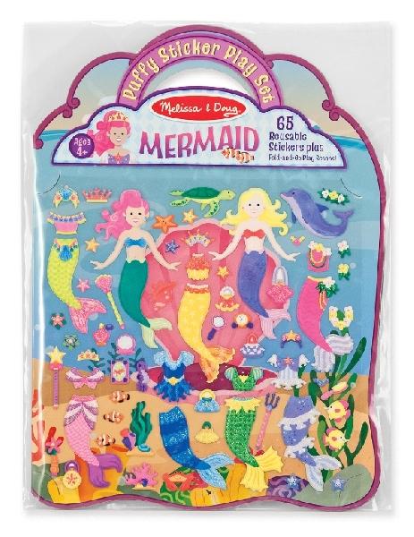 Puffy reusable sticker set - mermaid
