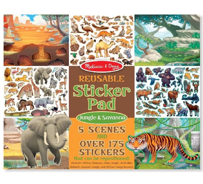 สมุดชุดสติกเกอร์รียูสซาเบิล รูปสัตว์ป่า ทุ่งสะวันนา