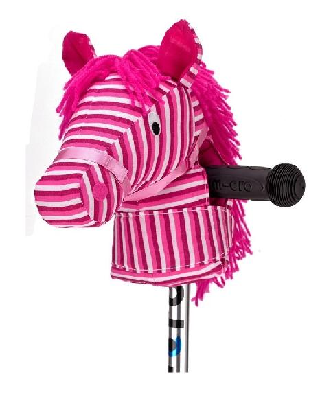 ตุุ๊กตาหัวม้าสีชมพูเข้มสวมที่จับสกู๊ตเตอร์