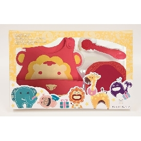 Baby feeding gift set - red (marcus the lion)