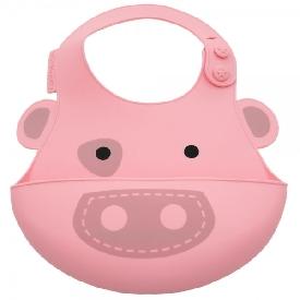 Baby Silicone Bib - Pink (Pokey The Pig)