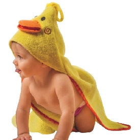 Baby hooded towels - puddles the duck