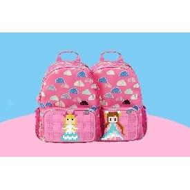 Upixel floating puff backpack(black+pink)