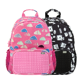 Upixel floating puff backpack(black+pink)