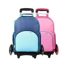 Upixel super class rolling backpack(pink+blue)