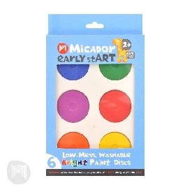 Low-mess washable bright paint discs early start