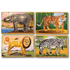 4-in-1 puzzles in a box wild animals