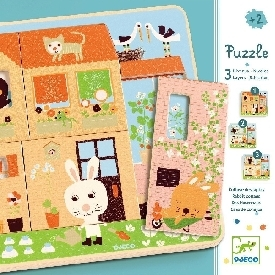 3 layers puzzles rabbit cottage
