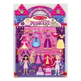 Puffy reusable sticker set princess