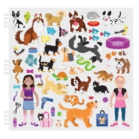 Puffy reusable sticker set pet place