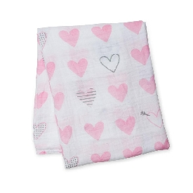 Cotton muslin swaddle - sweet heart