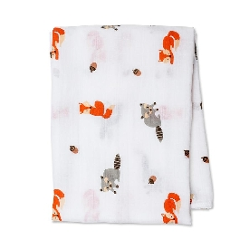 Cotton muslin swaddle - forest friends