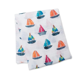 Cotton muslin swaddle - sailboats