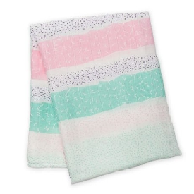 Bamboo muslin swaddle - pink spotted stripe