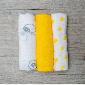 3 pack cotton mini muslin cloths - sunshine yellow