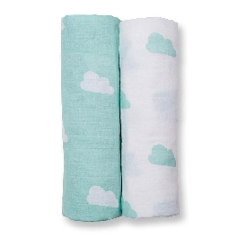 ผ้าอ้อมเด็กเนื้อ bamboo 2 ชิ้น ลาย  aqua clouds